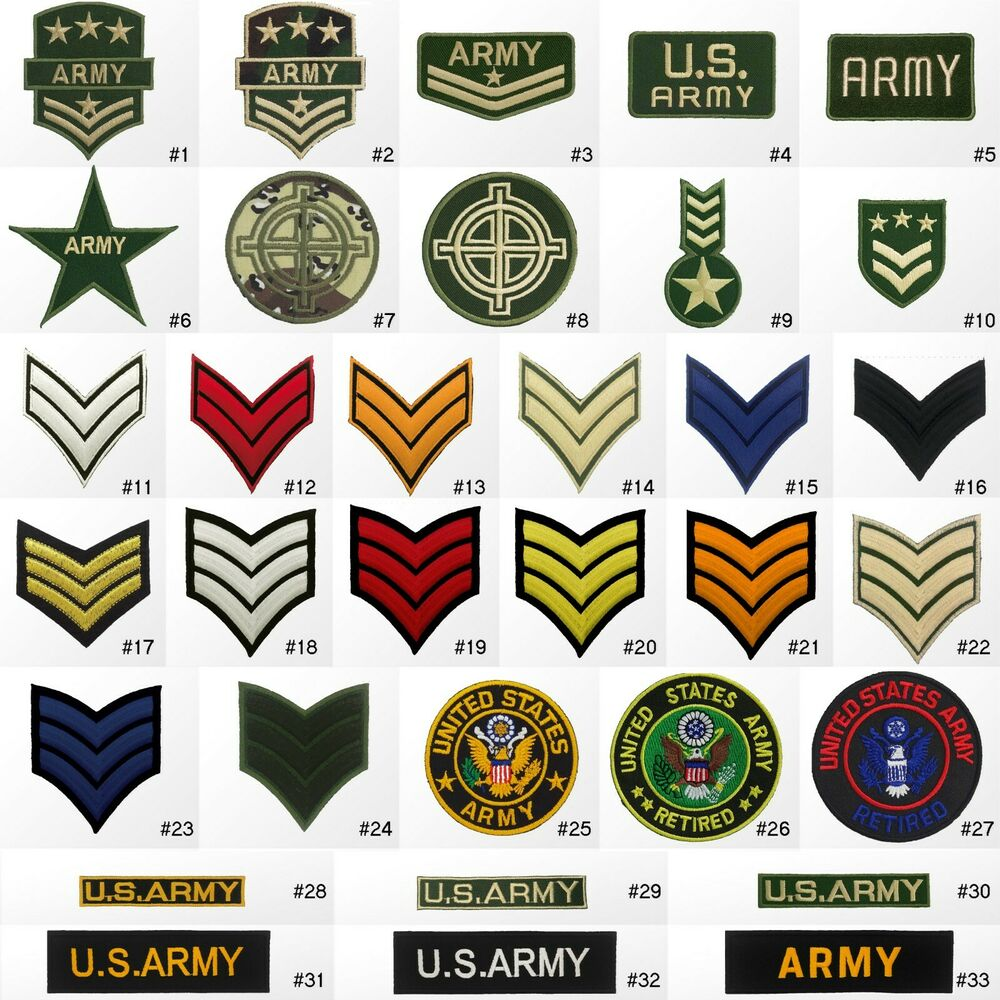 #1423R Military Army Soldier Rank Insignia Embroidered Sew
