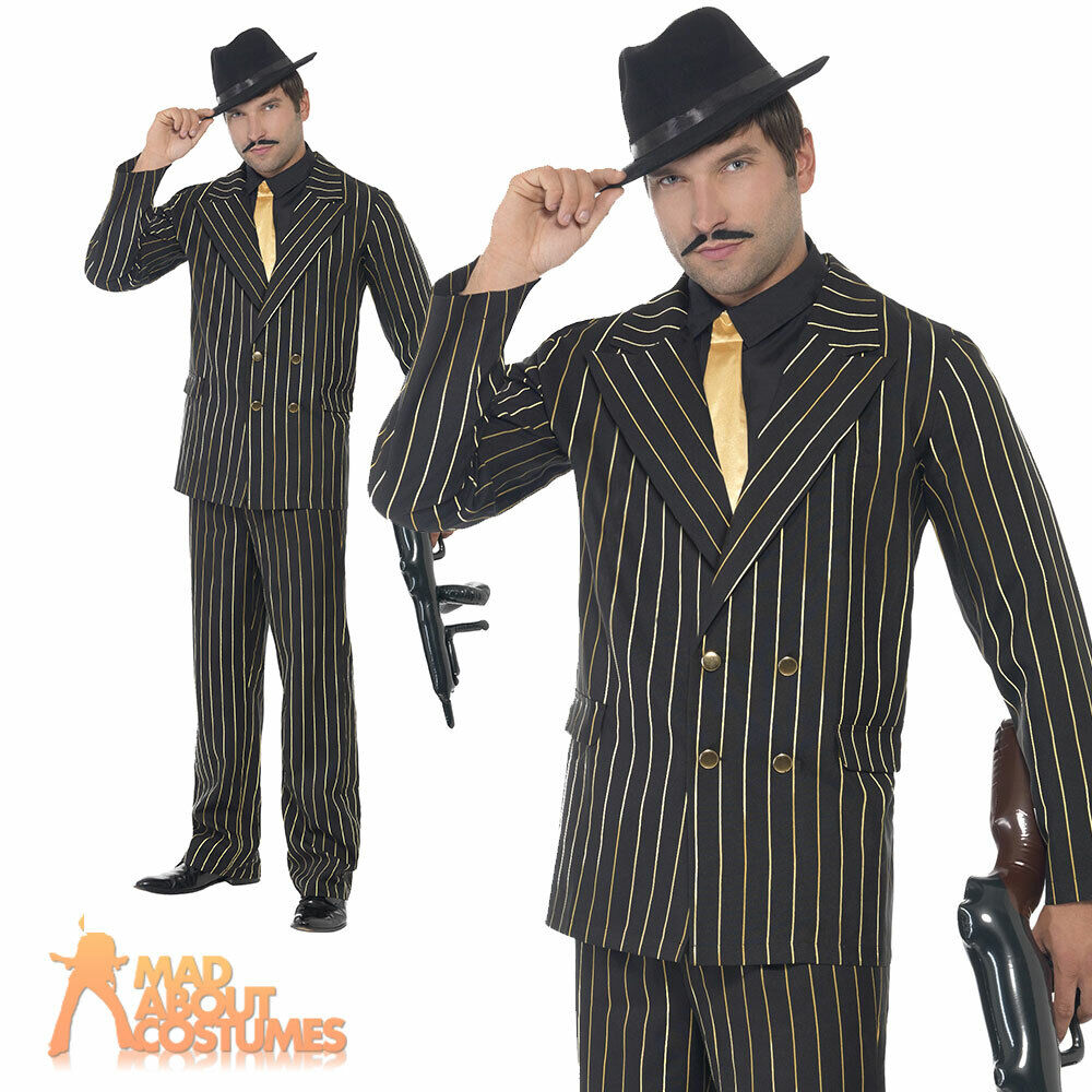 Gold Pinstripe Gangster Costume Godfather Mafia Mens Fancy Dress 20s Outfit New | EBay