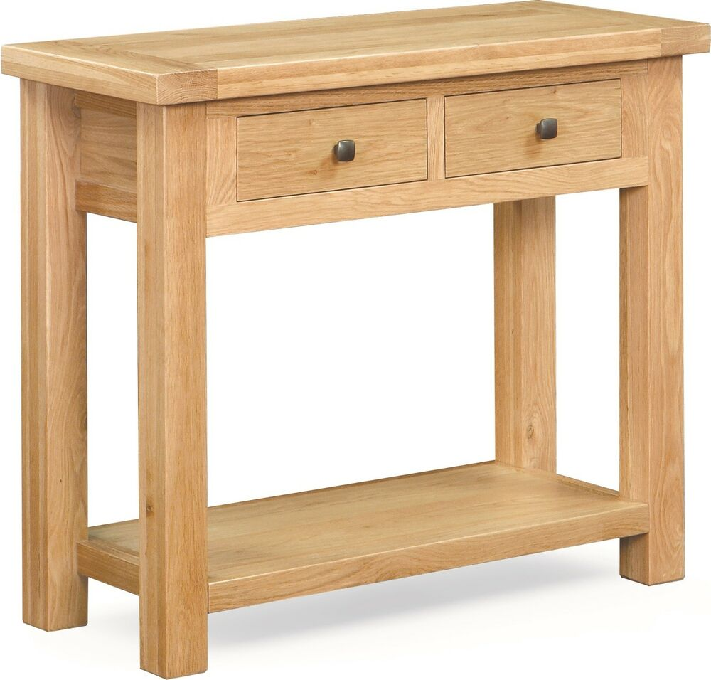 Helford oak console table chunky side large