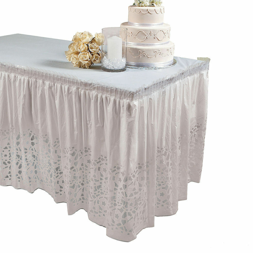 Wedding Lace Printed Table Skirt Plastic Decorations
