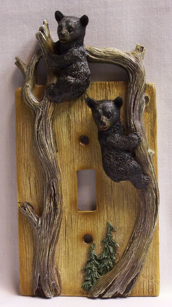 Black Bear Cubs Single Light Switch Plate Cover Rustic