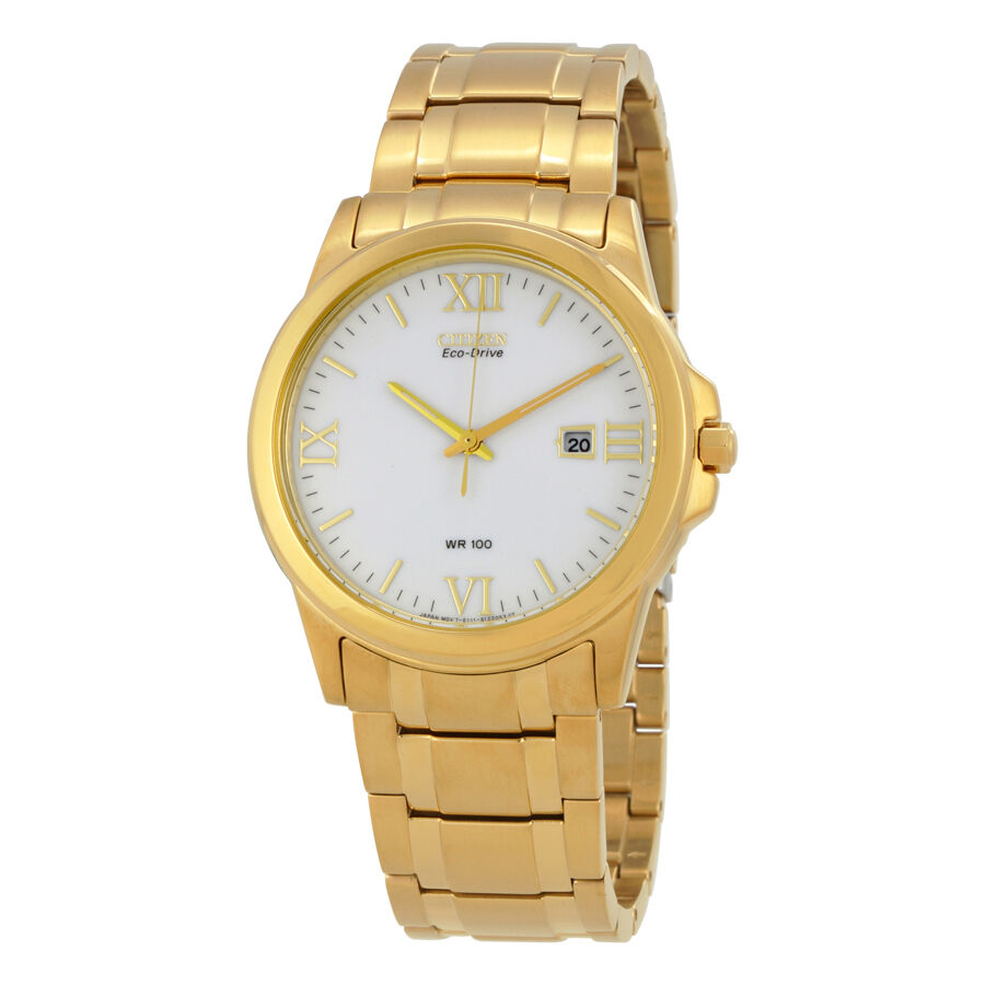 citizen eco drive gold tone steel mens bm7262 57a ebay