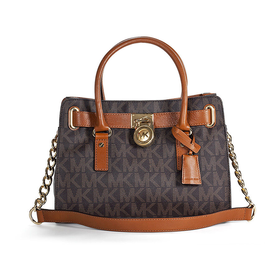 michael kors hamilton logo pvc satchel in brown ebay. Black Bedroom Furniture Sets. Home Design Ideas