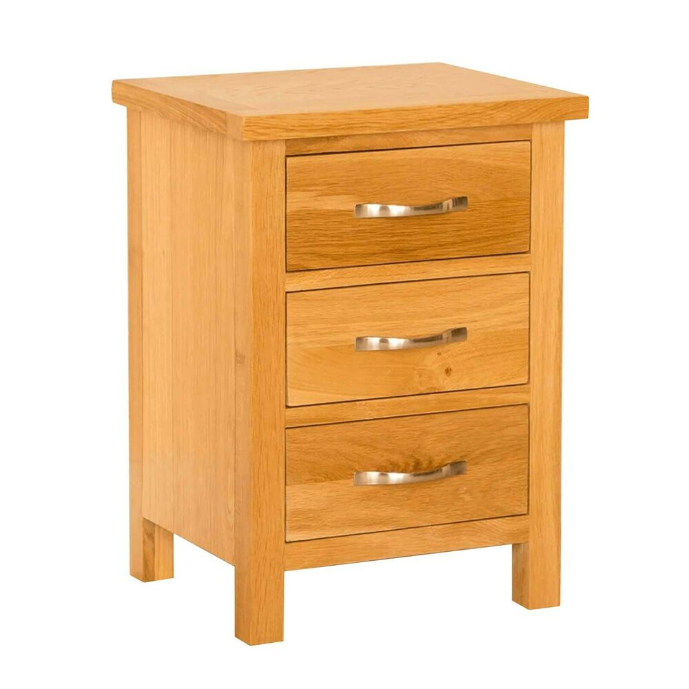 newlyn oak bedside table 3 drawer cabinet