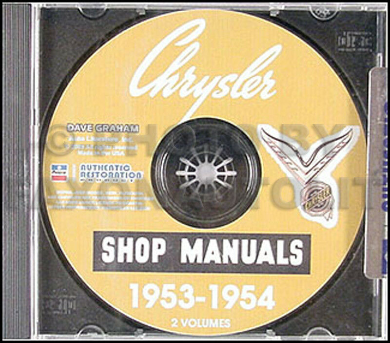 1953 1954 Chrysler Shop Manual CD New Yorker Windsor