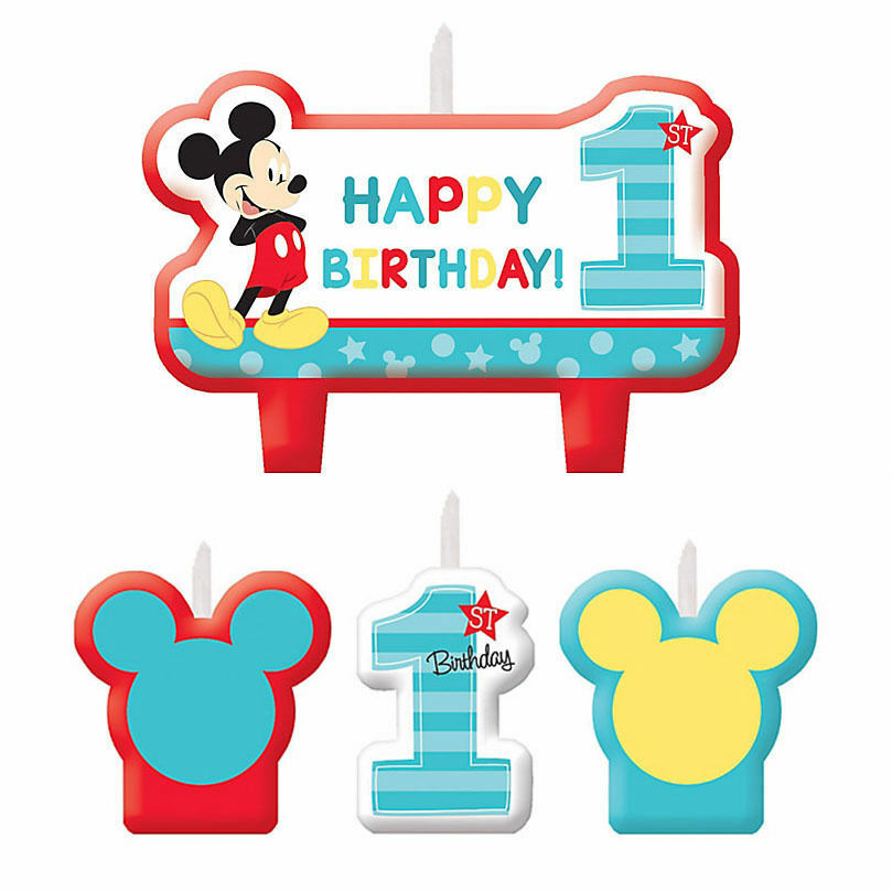 Mickey Mouse 1st Birthday Candle Set Party Supplies Baby Mickey First ...