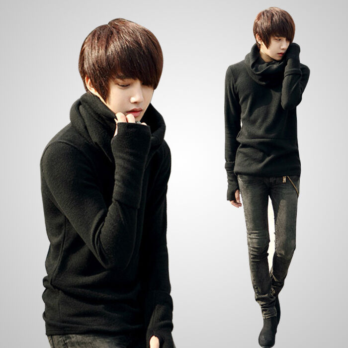 Men's Cozy Detachable Turtleneck Long Sleeve Casual T ...