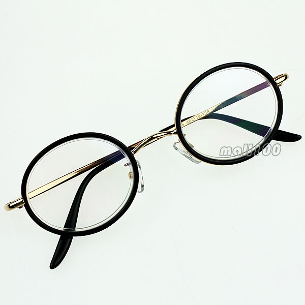 Black Gold Round Portable Reading Glasses Metal Frame ...