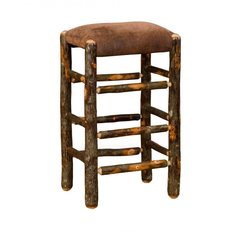 Rustic Hickory 30 Quot Bar Stool Faux Brown Leather Seat
