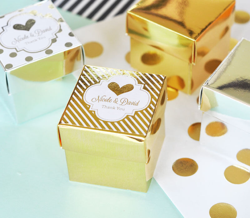 144 Personalized Gold Silver Foil Mini Cube Candy Bridal