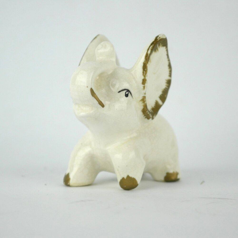 Vintage Mid Century Lucky Trunk Up White Elephant Figurine