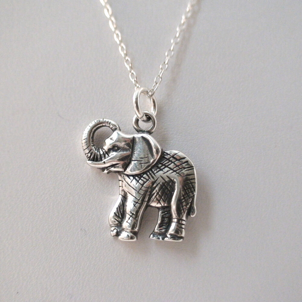 elephant charm necklace 925 sterling silver elephant