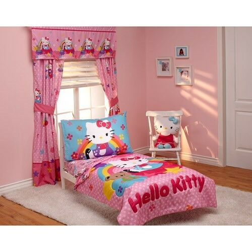 Hello Kitty Stars And Rainbows 4 Piece Cats Kittens Pink Toddler Bedding Set Ebay