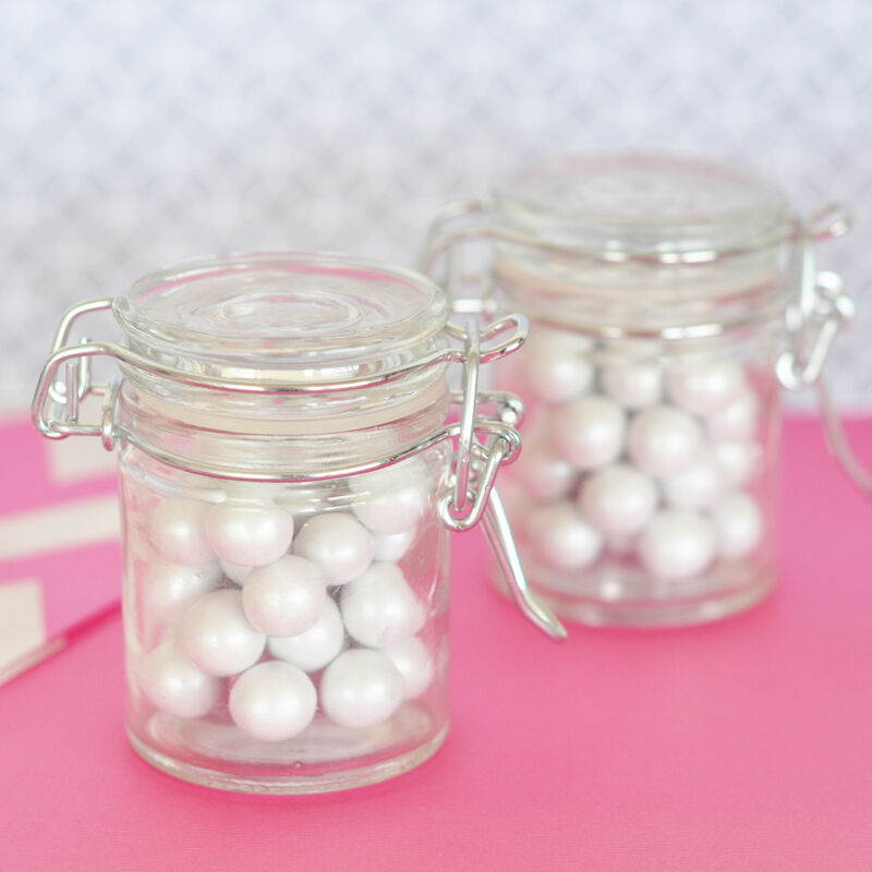 50 diy blank mini swing top glass jar birthday baby shower bridal wedding favor ebay. Black Bedroom Furniture Sets. Home Design Ideas