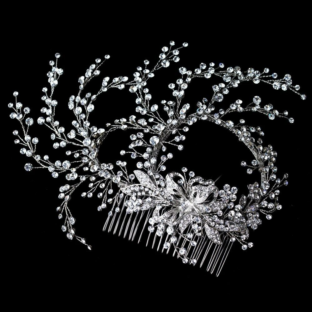 Delicate Rhodium Clear Rhinestone Hand Wired Floral