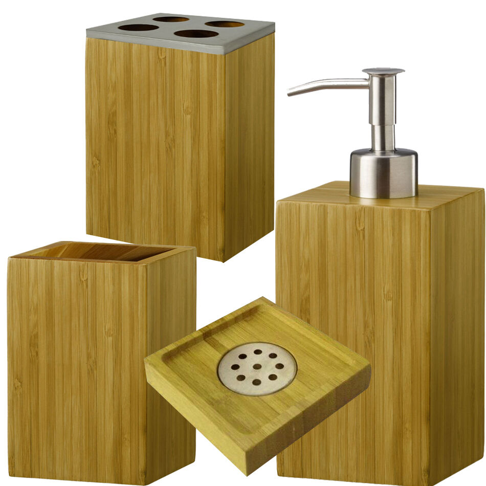 Bamboo wood bathroom accessories soap dish dispenser tooth brush holder ebay - Bathroom soap dish sets ...