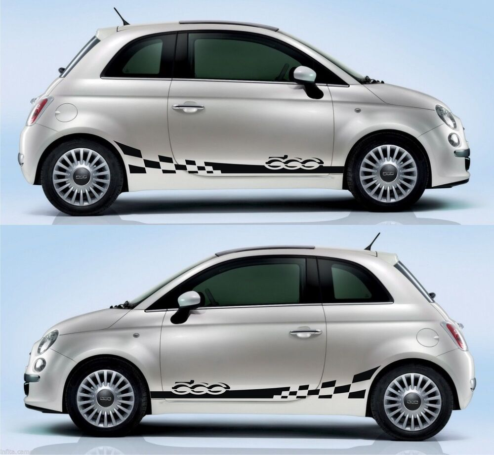 fiat 500 racing side stripe sticker kit italy italian cinquecento abarth decal ebay. Black Bedroom Furniture Sets. Home Design Ideas
