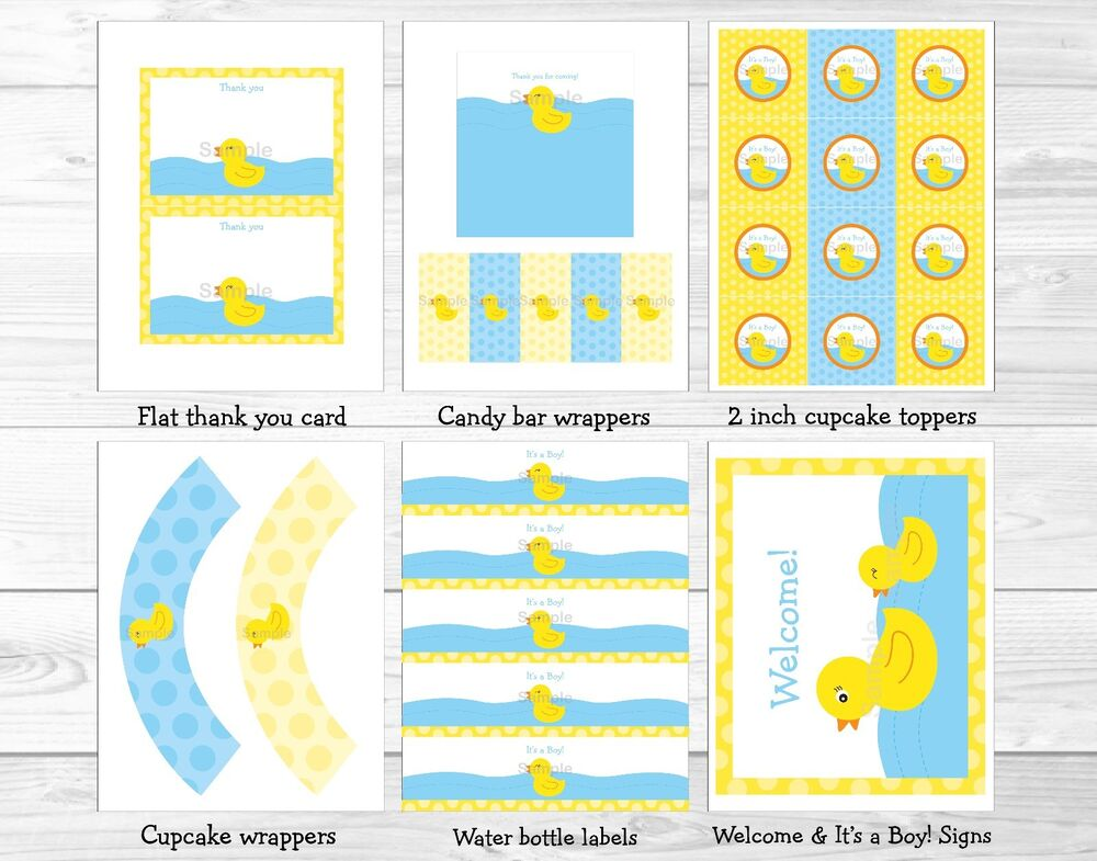 Lil Rubber Duck Baby Boy Printable Baby Shower Party ...