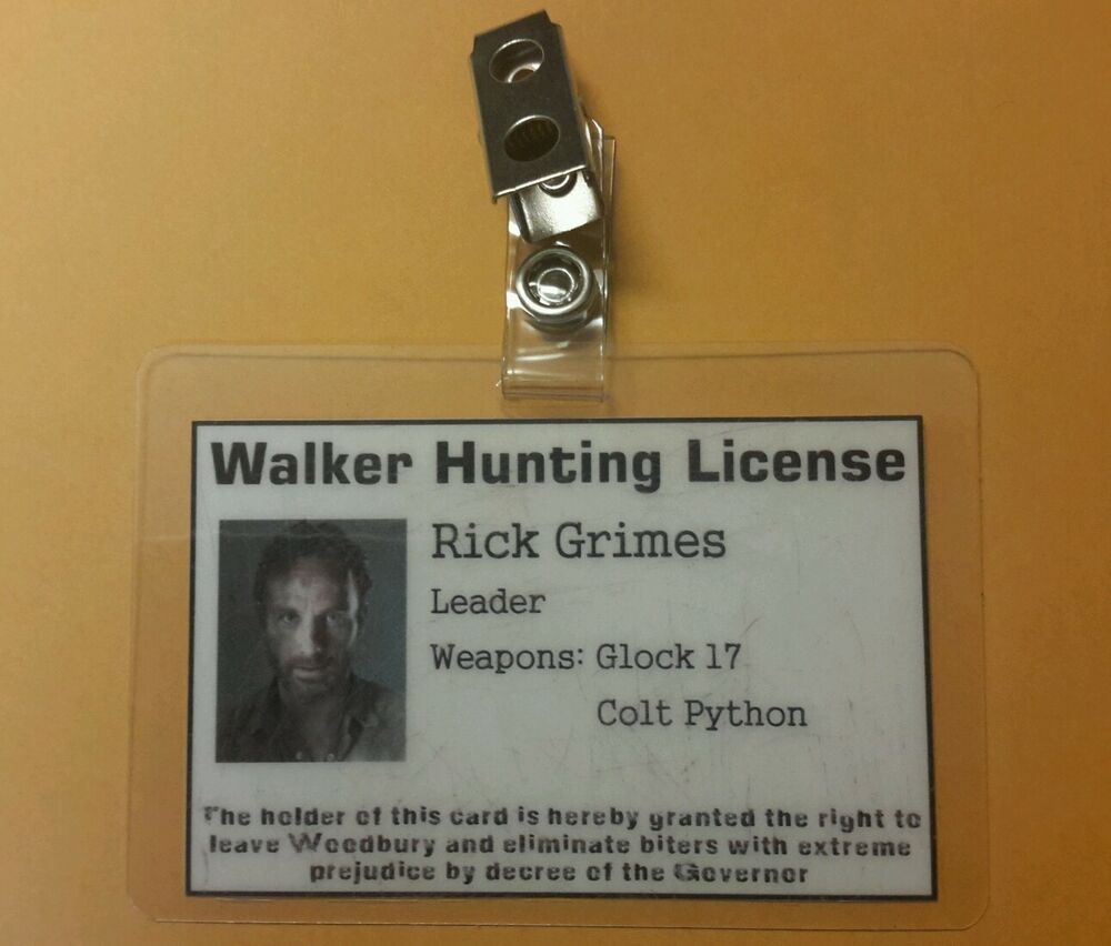 The walking dead id badge walker hunting license rick for Buy colorado fishing license