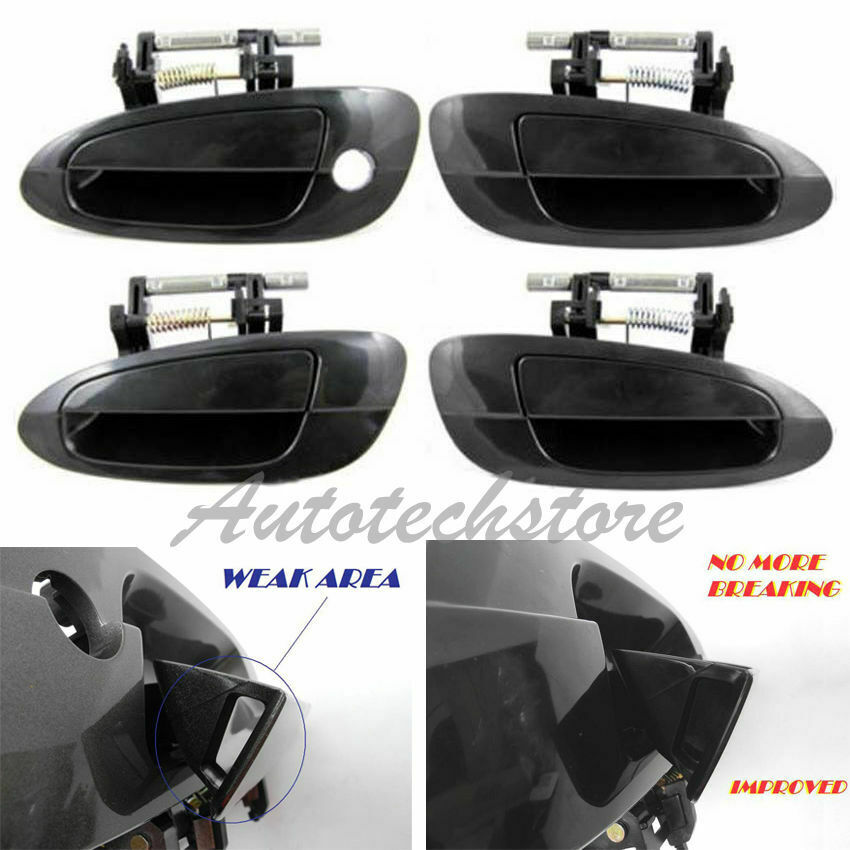 Set 4 outer outside door handle smooth black for 02 03 04 for 02 nissan altima door handle
