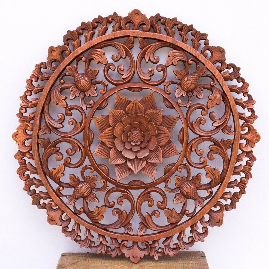 Intraditional bali lotus flower carved round wooden wall