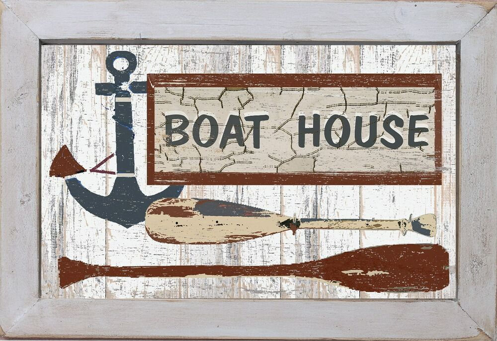 vintage style country primitive beach nautical home decor boat house wall art ebay. Black Bedroom Furniture Sets. Home Design Ideas