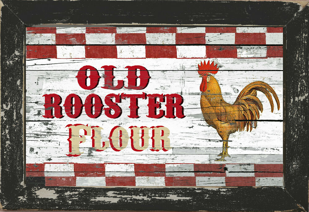 Rustic Country Primitive Diner Kitchen Home Decor Rooster Flour