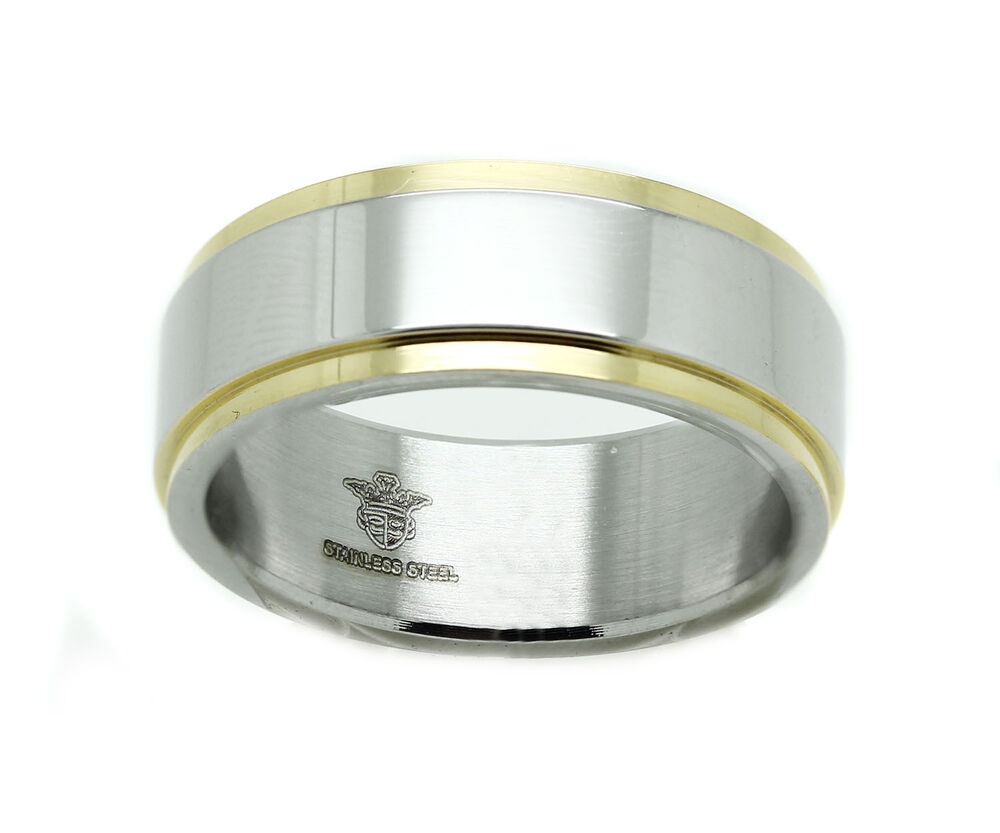 Mens Stainless Steel White Yellow Two Tone Band Wedding Ring Jewelry EBay