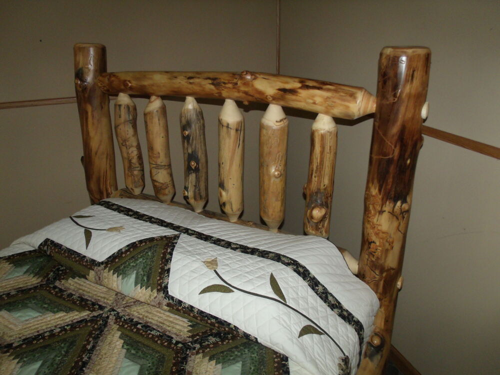 Furniture Rustic Wood Bed Headboards With Mantel Having: Rustic Aspen Log Bed- QUEEN SIZE