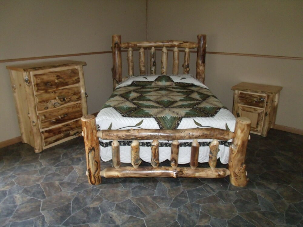 Rustic aspen log bedroom set king complete bed 4 drawer - Bedroom sets with drawers under bed ...