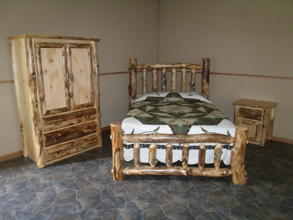 rustic aspen log bedroom set queen complete bed armoire nightstand