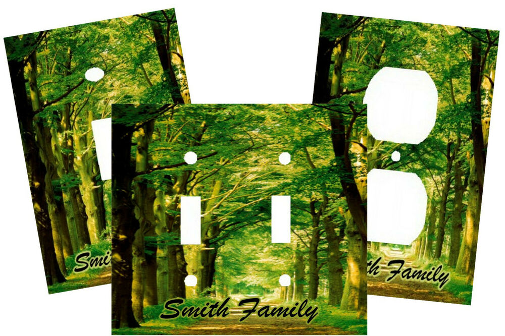 PERSONALIZED OUTDOOR FORREST GREEN TREE PATH LIGHT SWITCH PLATE COVER HOME DECOR  eBay