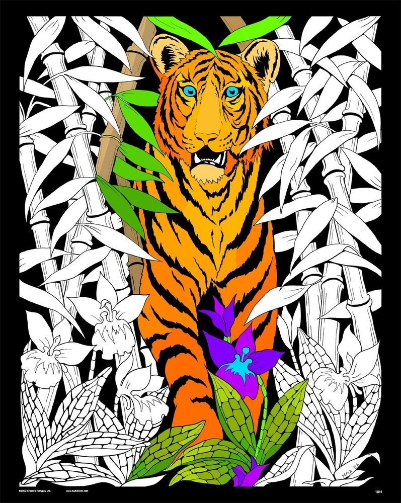 Bamboo Tiger - Large 16x20 Inch Fuzzy Velvet Coloring ...