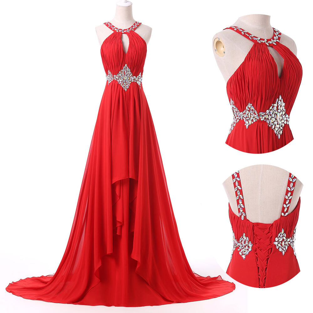Red long chiffon formal party evening prom dress cocktail for Prom dress as wedding dress