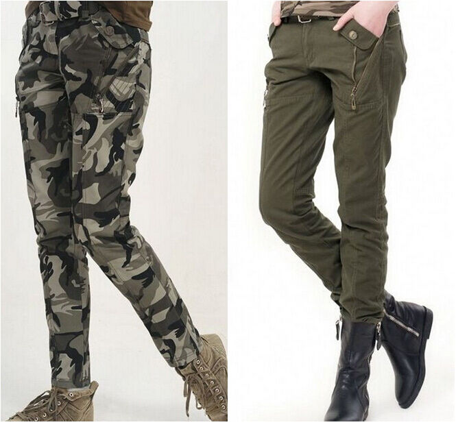 Original Womens Fashion Military Army Green Cargo Pockets Pants Leisure