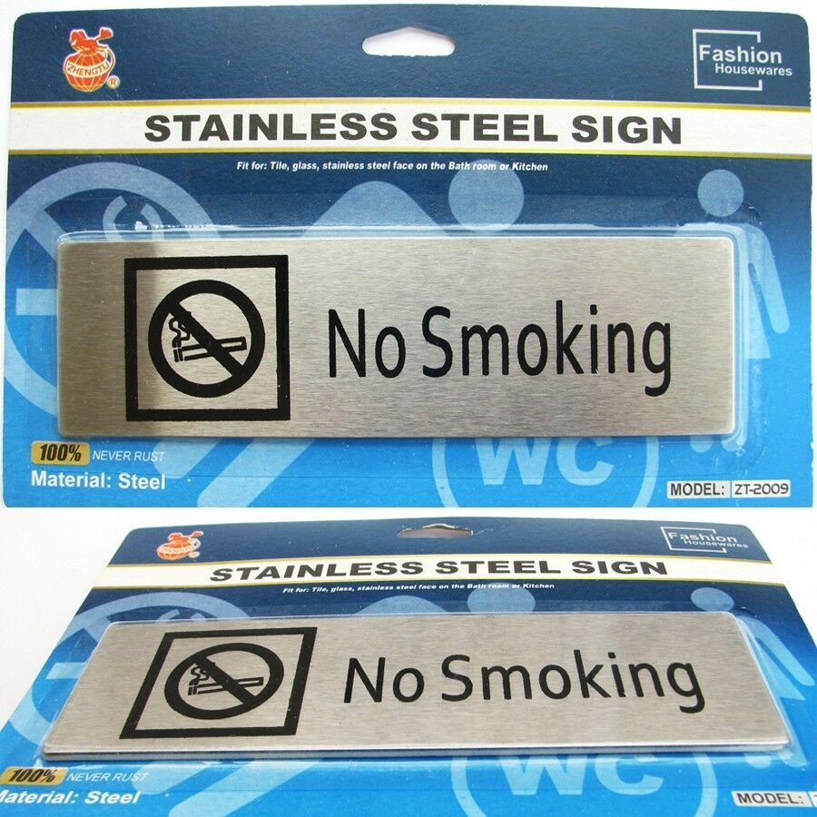 Stainless Steel No Smoking Sign Plaque Adhesive Indoors