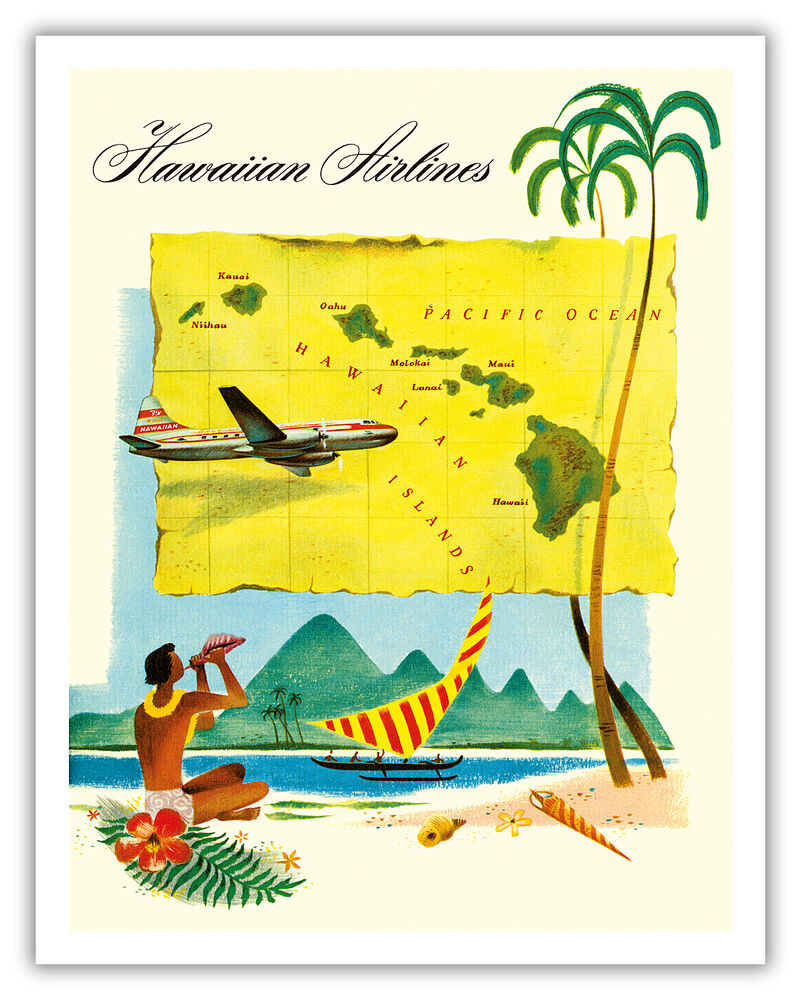 Hawaii Route Map Hawaiian Airlines Travel Aloha Vintage ...