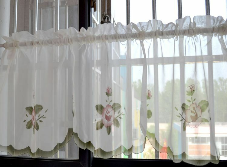 kitchen curtain design lovely purple flower embroidery scallop border white sheer 1054