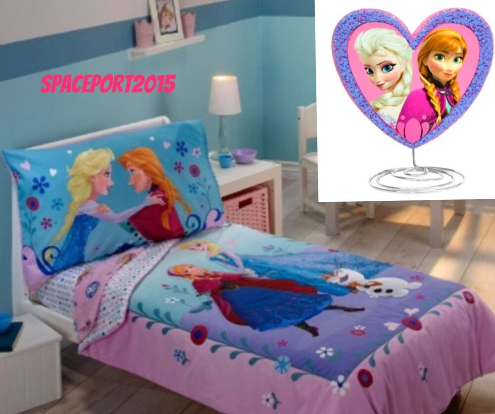 5p Disney Frozen Anna Elsa Toddler Quilt Sheets Table Lamp