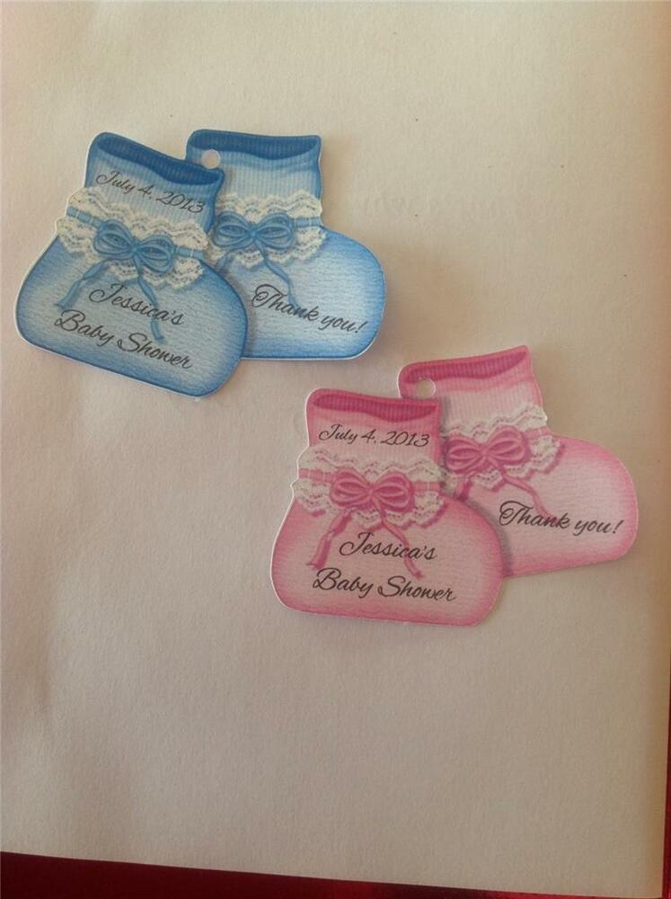 Baby shower favor tags pink or blue baby booties personalized ebay - Baby shower favor tags ...