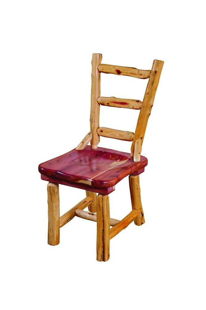 Rustic red cedar log dining room chairs set of 4 amish for Red dining room chairs