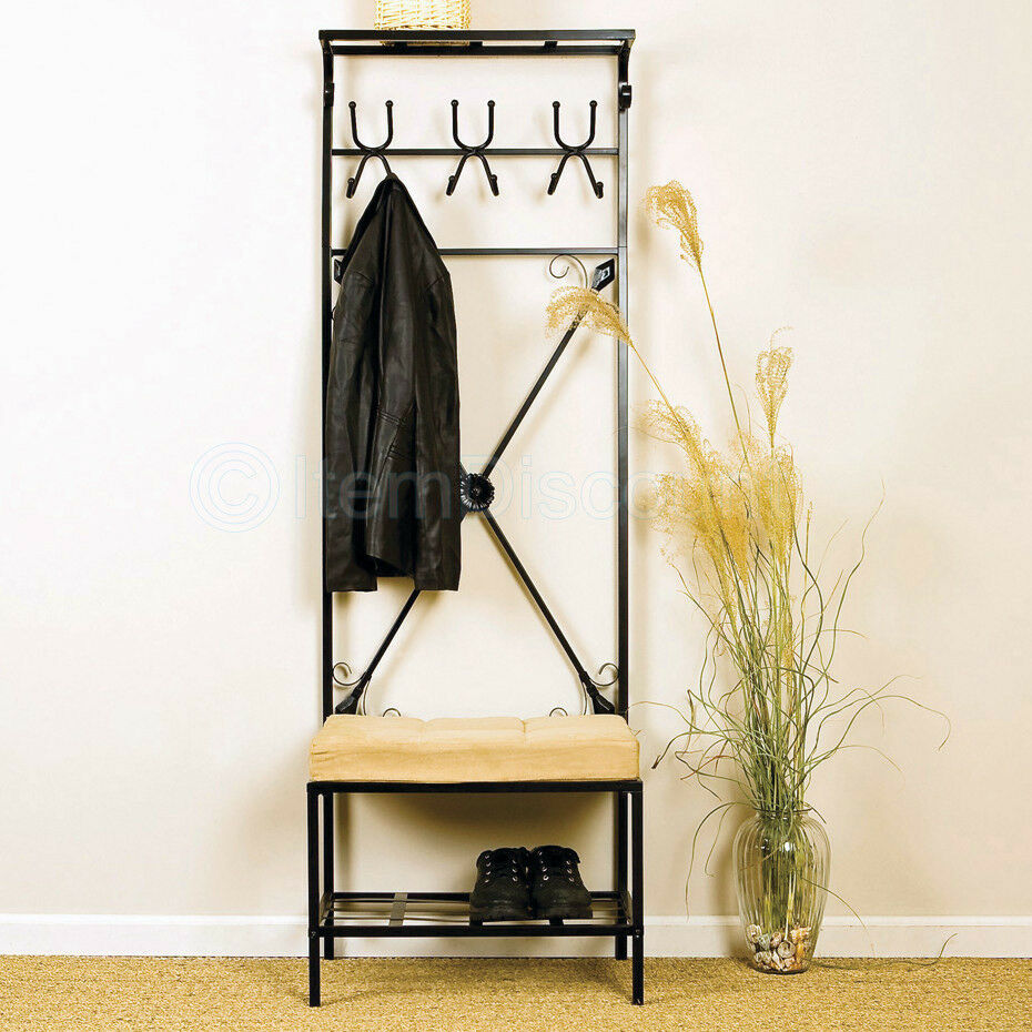 12 hook metal hat bag coat rack stand entryway hall tree storage bench organizer ebay Storage bench with coat rack