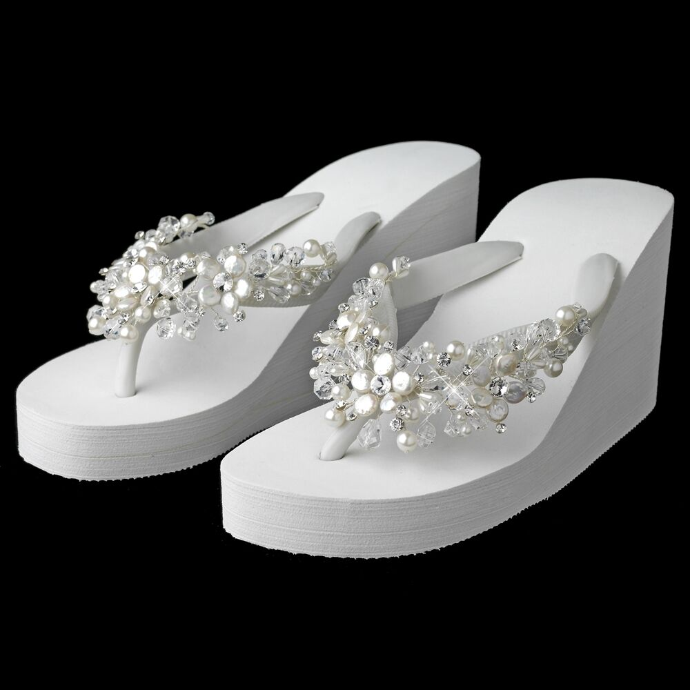 White Crystal Amp Freshwater Pearl Wedge Beach Wedding Bridal Flip Flop Sandals