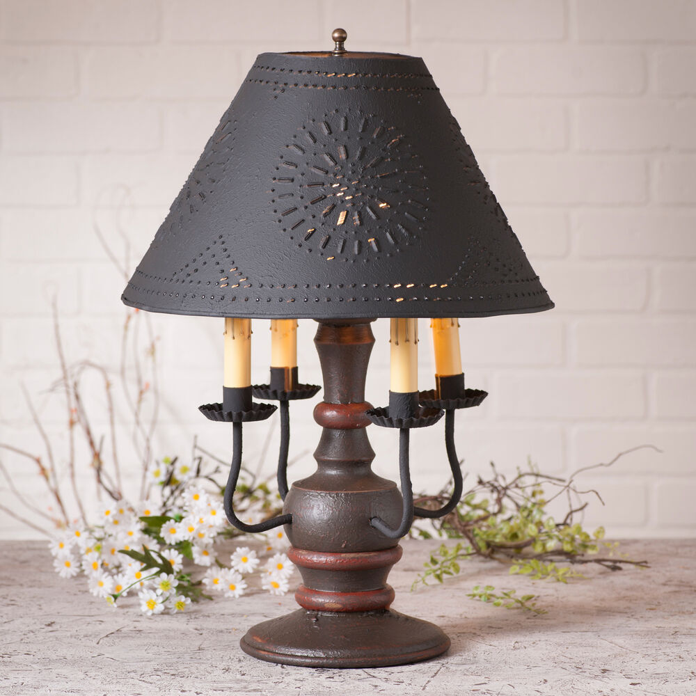 wood wrought iron lamp 4 candelabra table light ornate rustic punched tin shade ebay. Black Bedroom Furniture Sets. Home Design Ideas