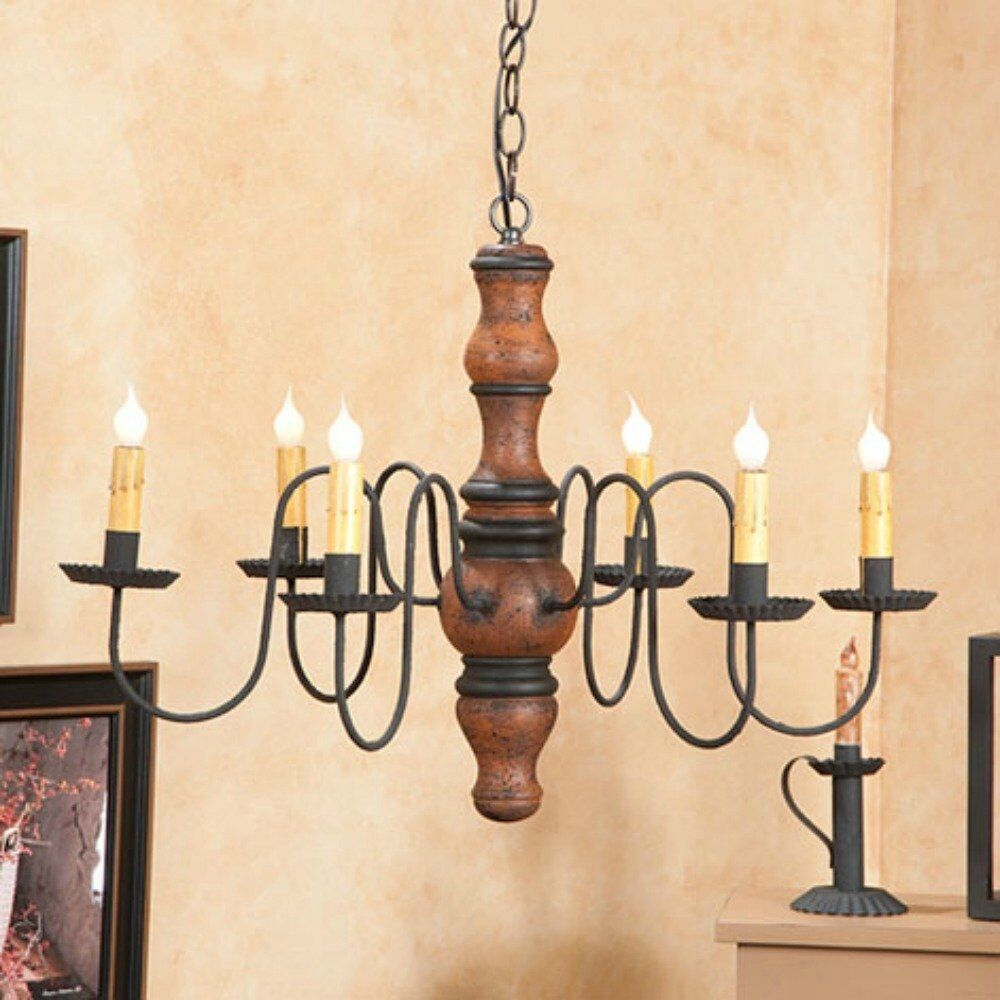 PRIMITIVE CHANDELIER Wood Metal CANDELABRA Rustic Colonial Country Ceiling Li