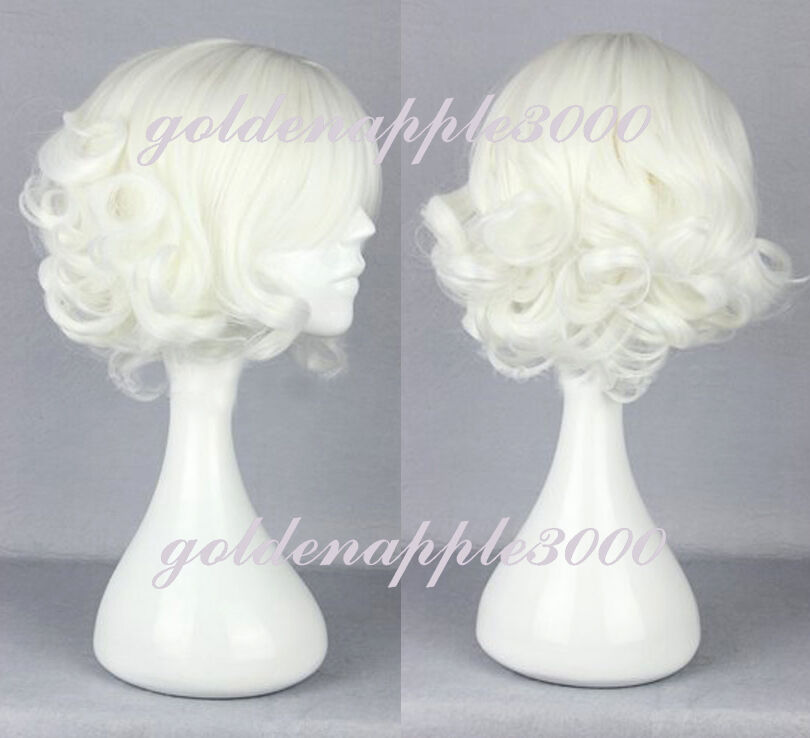 12 Quot 30cm Lolita Short Curly White Cosplay Costume Wig