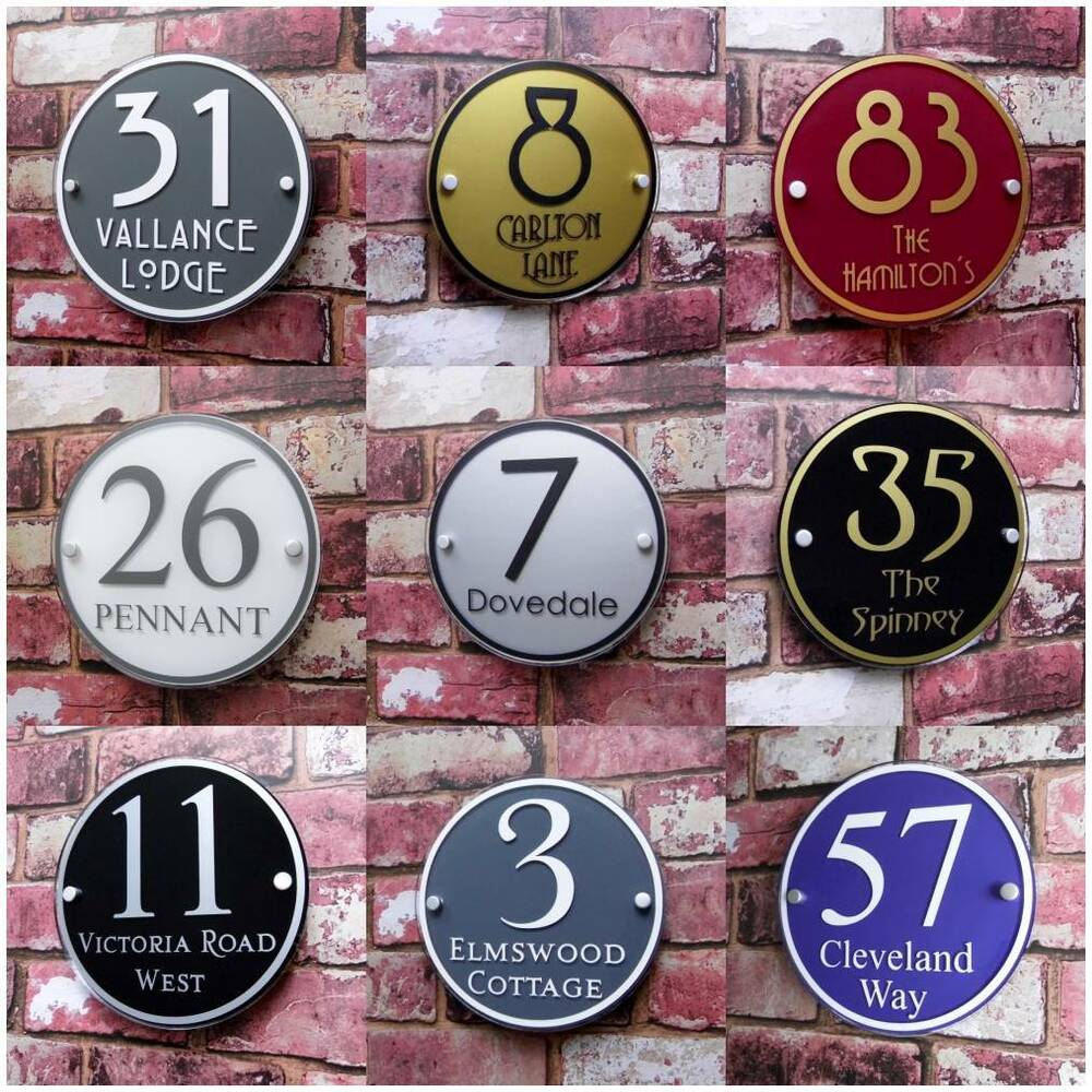 Personalised house sign door number street address plaque for Front door number plaques