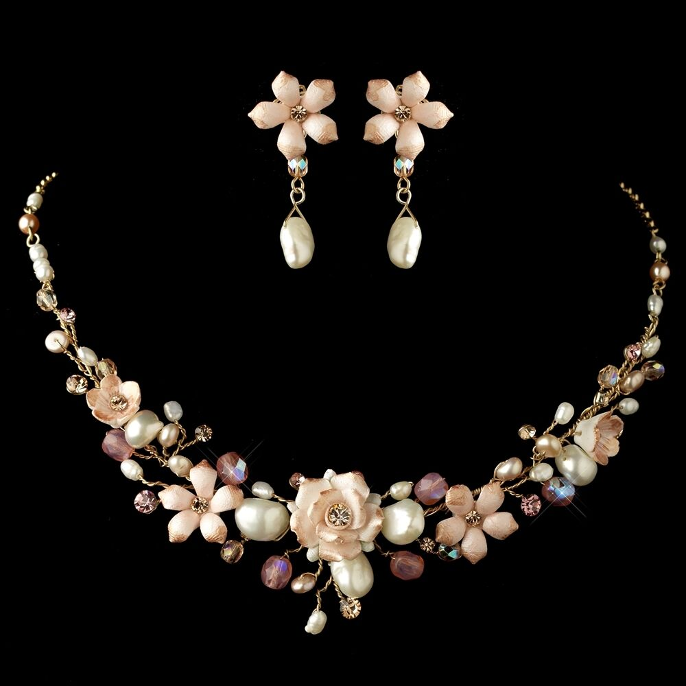Pink gold freshwater pearl porcelain flower prom bridal for Pink wedding jewelry sets