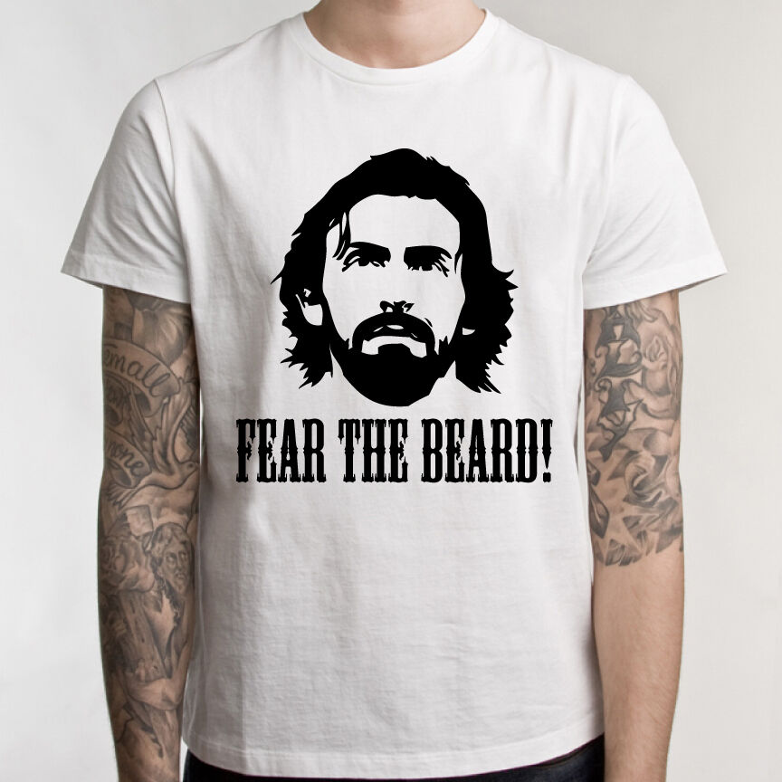 Pirlo t shirt fear the beard andrea italy juventus cool for Cool football t shirts