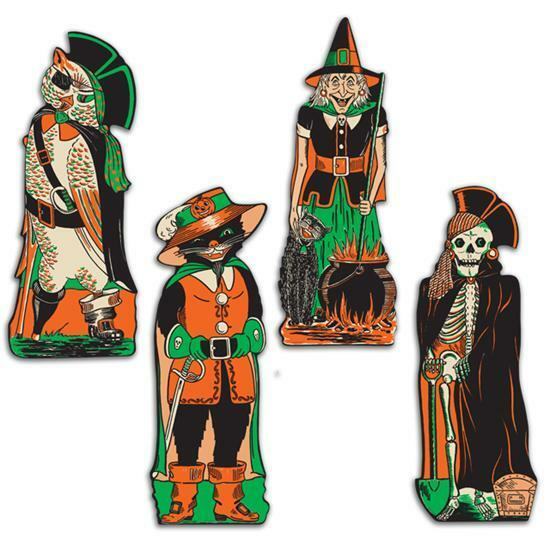 4 retro halloween diecuts vintage party decorations Vintage halloween decorations uk